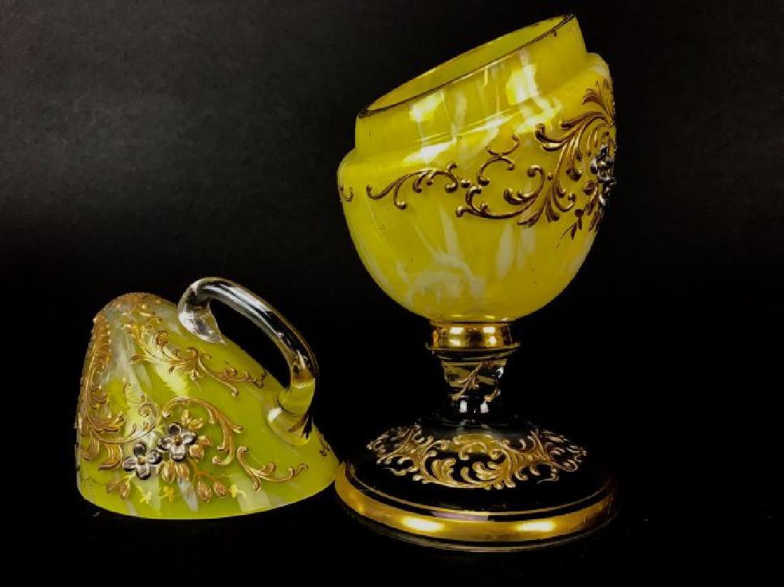 ENAMELED AND GILT MOSER GLASS EGG - 3