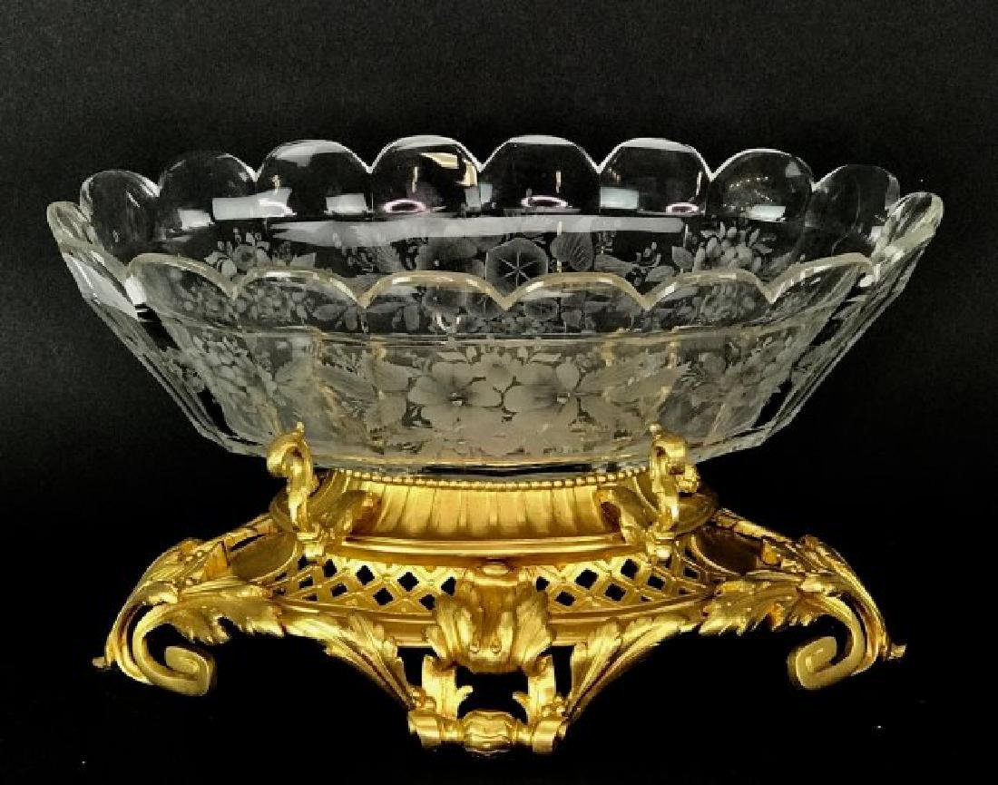 A LARGE 19TH C. ORMOLU AND BACCARAT CRYSTAL CENTERPIECE - 2
