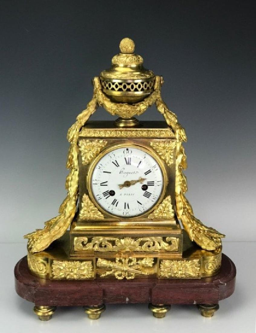 19TH C. FRENCH DORE BRONZE & ROUGE MARBLE CLOCK