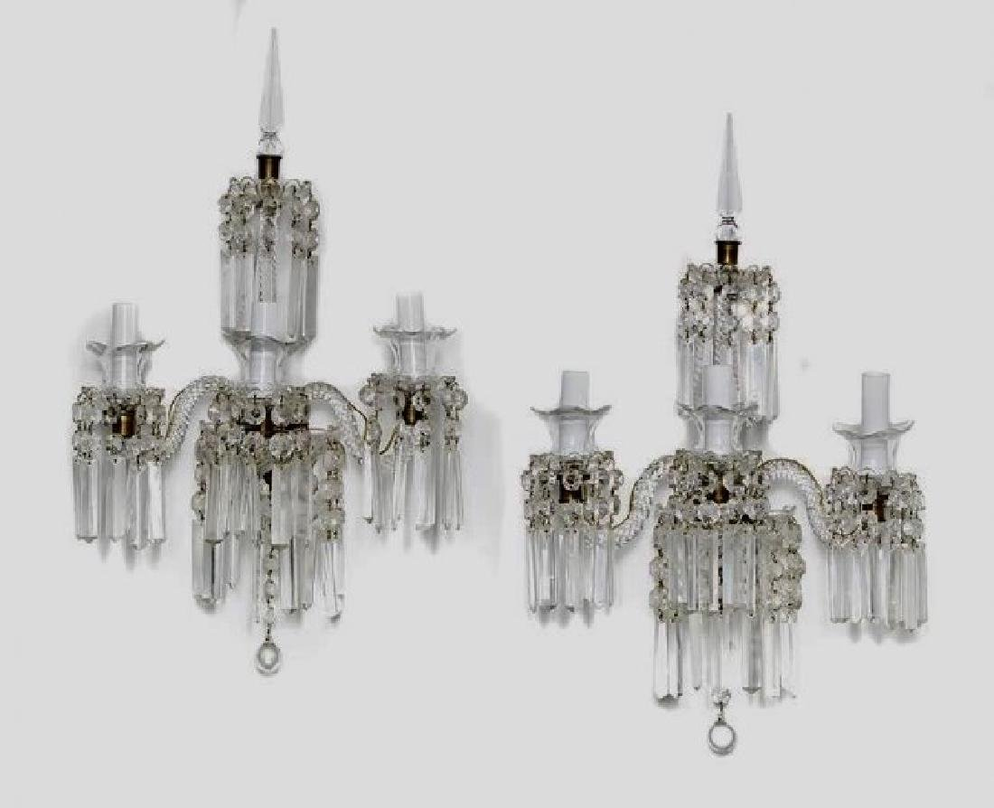 A PAIR OF BACCARAT GLASS WALL SCONSES