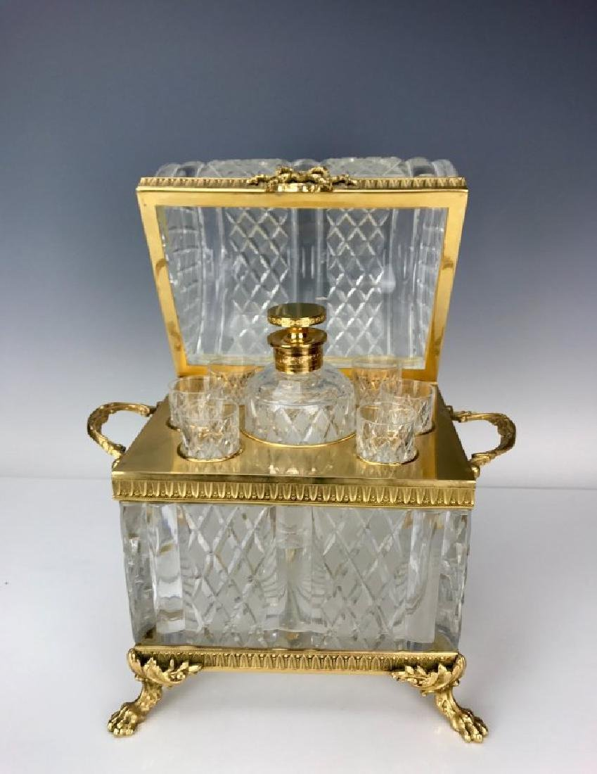 DORE BRONZE AND BACCARAT GLASS DECANTER SET - 2