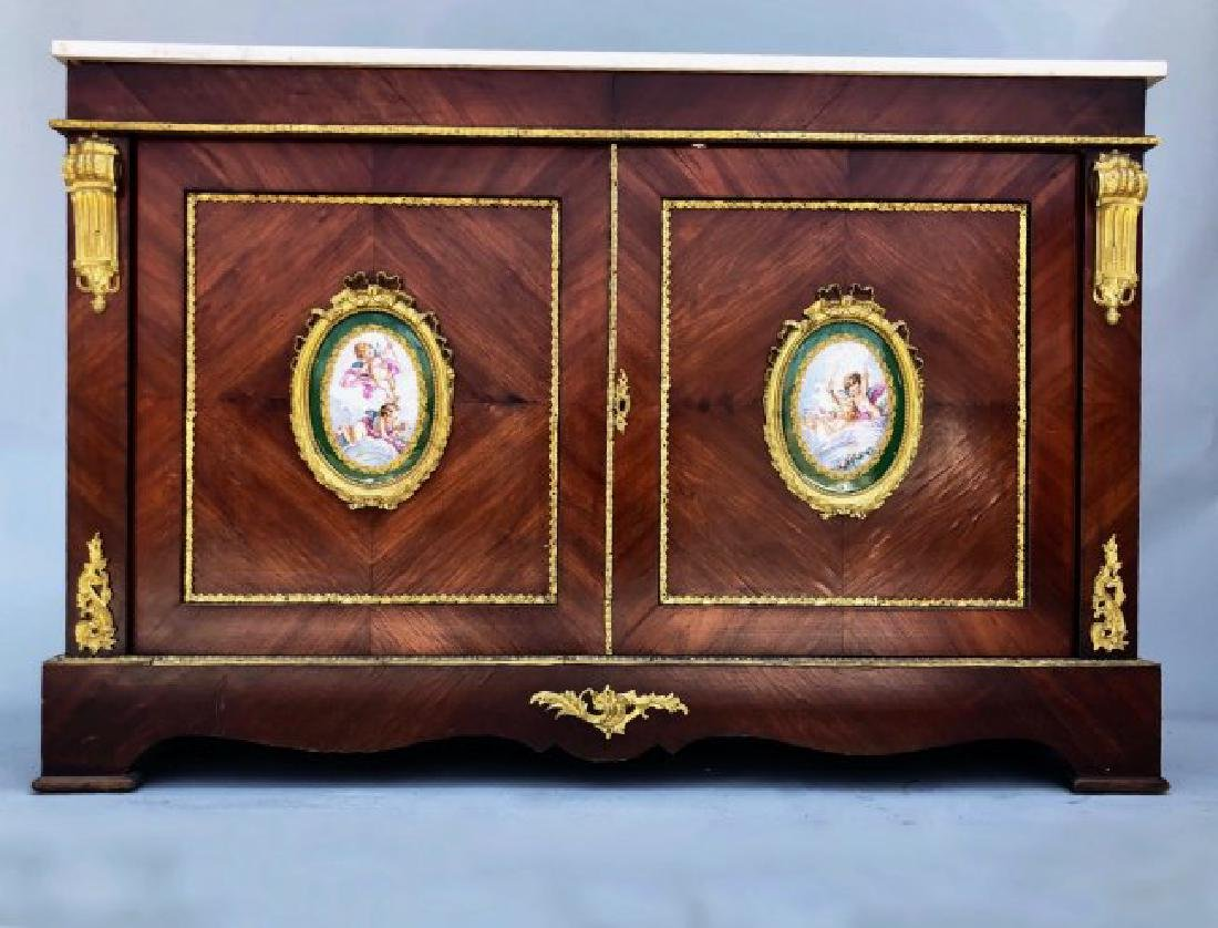 19TH C, SEVRES & ORMOLU MOUNTED KINGWOOD COMMODE