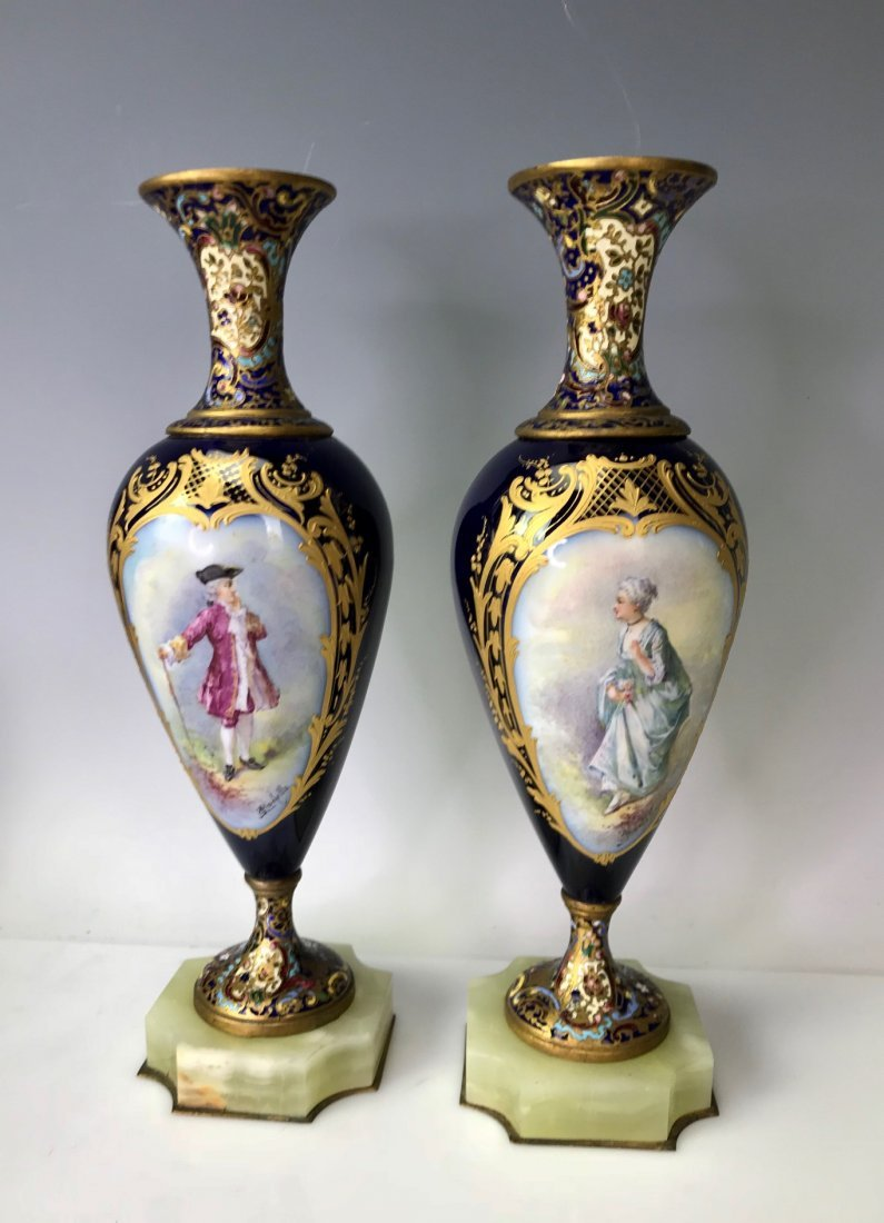 A PAIR OF FRENCH CHAMPLEVE ENAMEL & SEVRES VASES