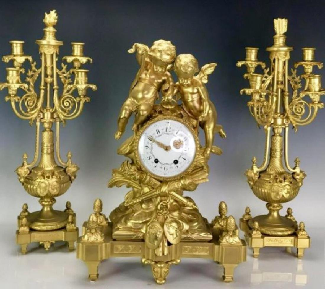 19TH C. FRENCH DORE BRONZE CLOCK SET