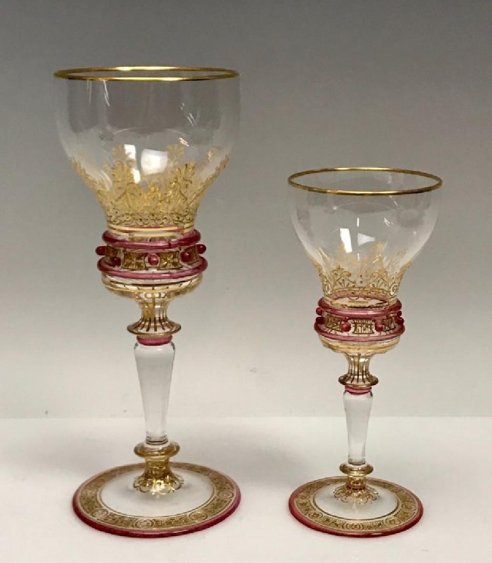 A PAIR OF 19TH C. ENAMELED LOBMEYR GLASSES