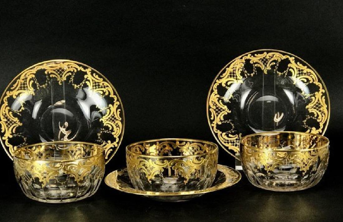 SET OF 3 MOSER GILT FINGER BOWLS AND PLATES
