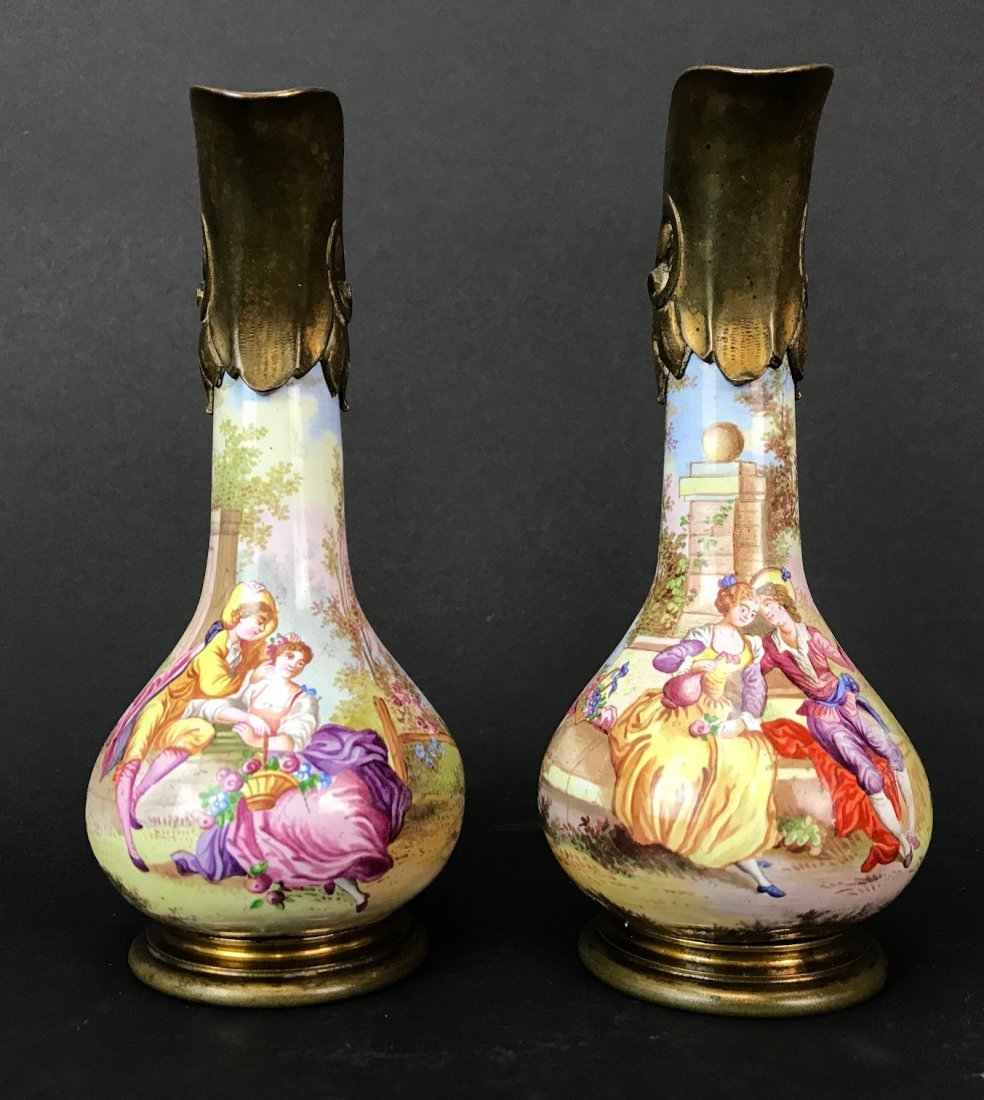 A PAIR OF 19TH C. VIENNESE ENAMEL EWERS
