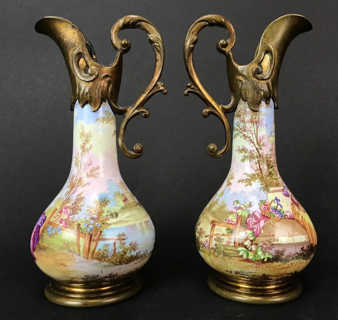 A PAIR OF 19TH C. VIENNESE ENAMEL EWERS - 2