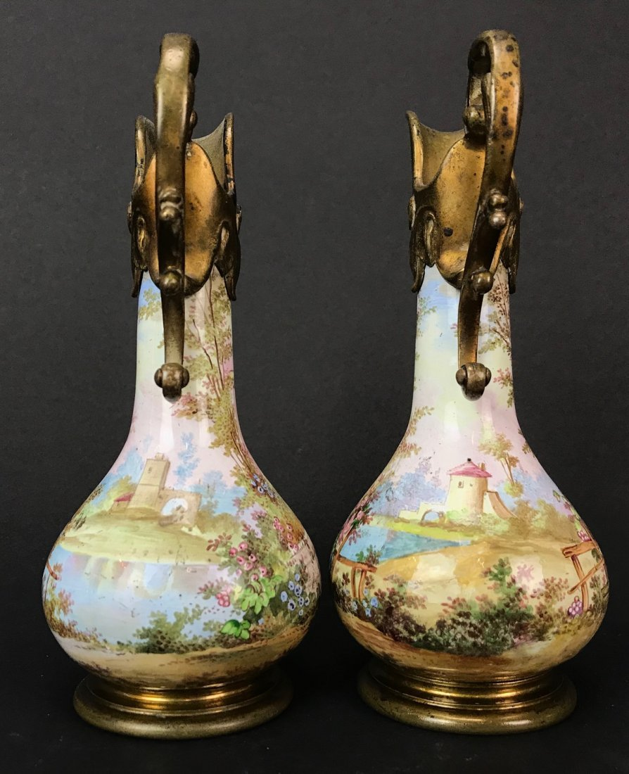 A PAIR OF 19TH C. VIENNESE ENAMEL EWERS - 3