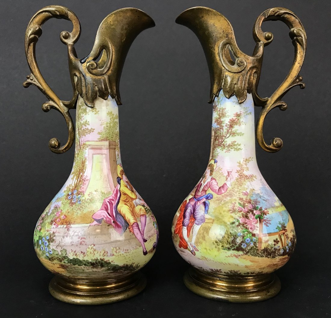 A PAIR OF 19TH C. VIENNESE ENAMEL EWERS - 4