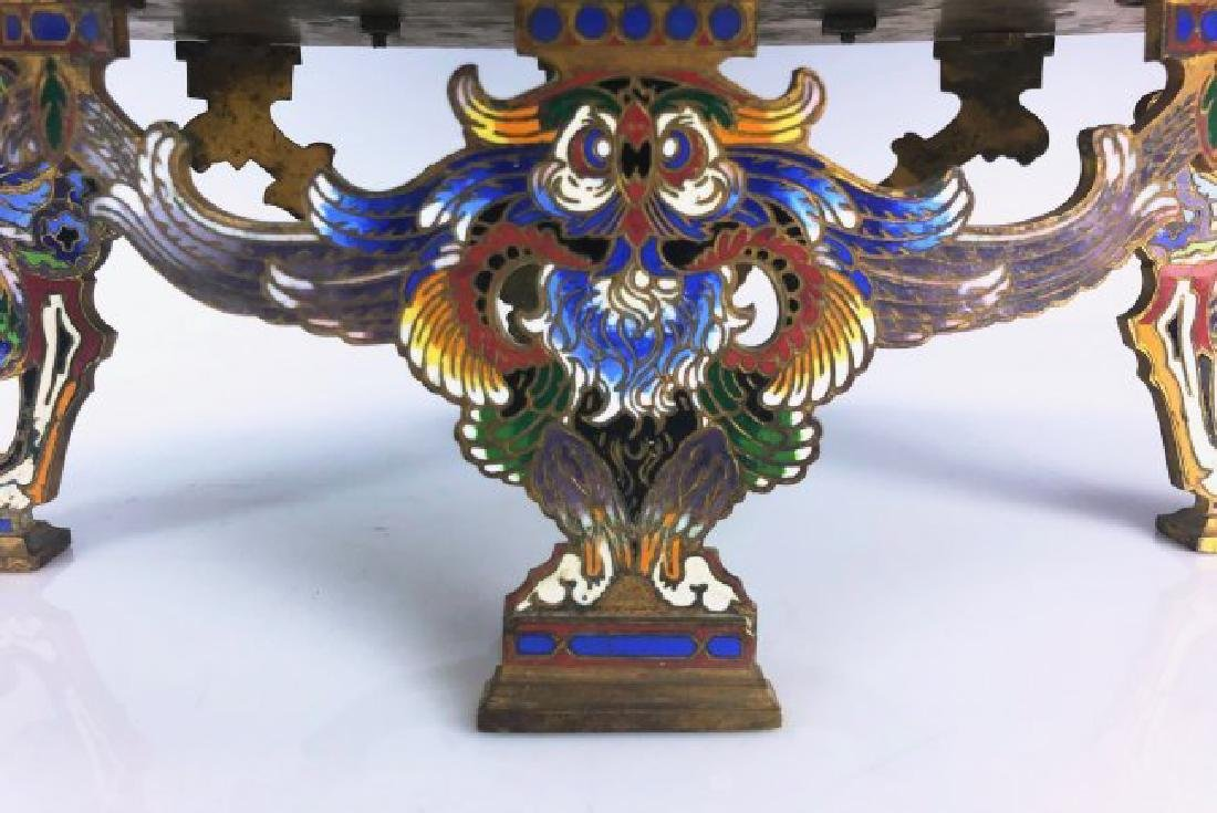 A LARGE 19TH C. CHAMPLEVE ENAMEL CENTERPIECE - 3