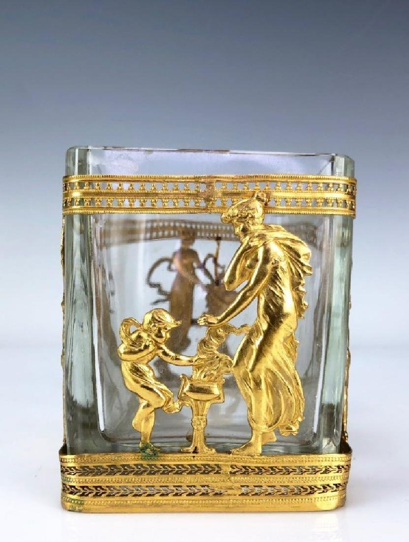 19TH C. DORE BRONZE AND BACCARAT GLASS VASE - 3