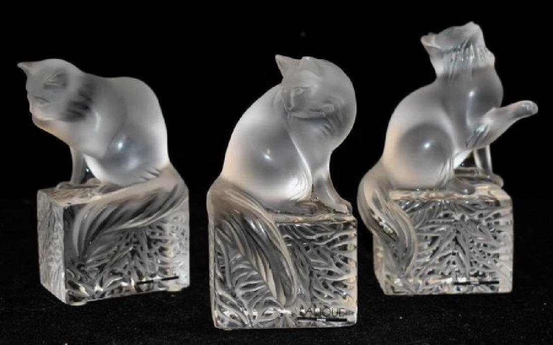 3 LALIQUE CAT PAPERWEIGHTS