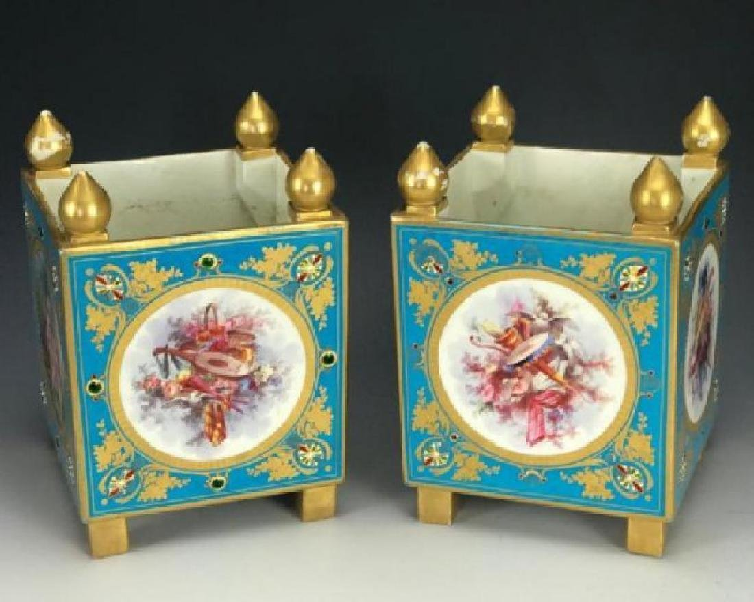 A SUPERB PAIR OF JEWELED SEVRES PORCELAIN CACHEPOTS - 2