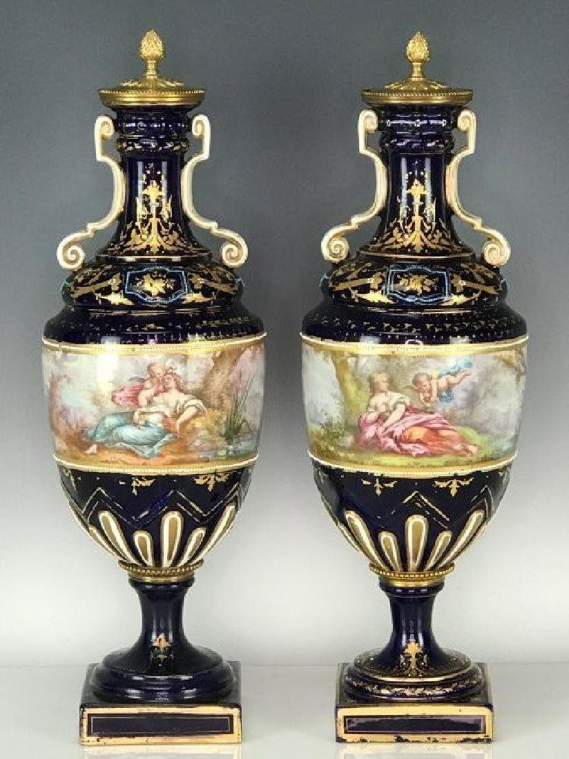 PAIR OF 19TH C. JEWELED SEVRES PORCELAIN VASES - 2