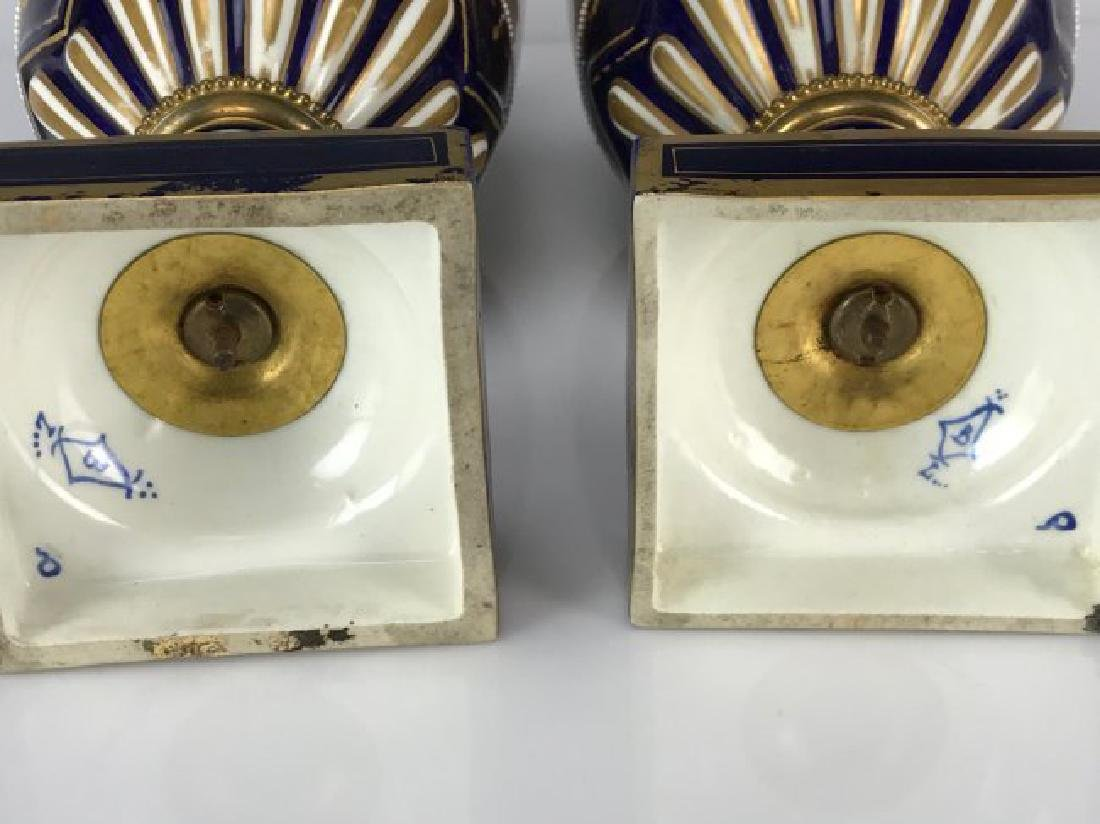 PAIR OF 19TH C. JEWELED SEVRES PORCELAIN VASES - 5