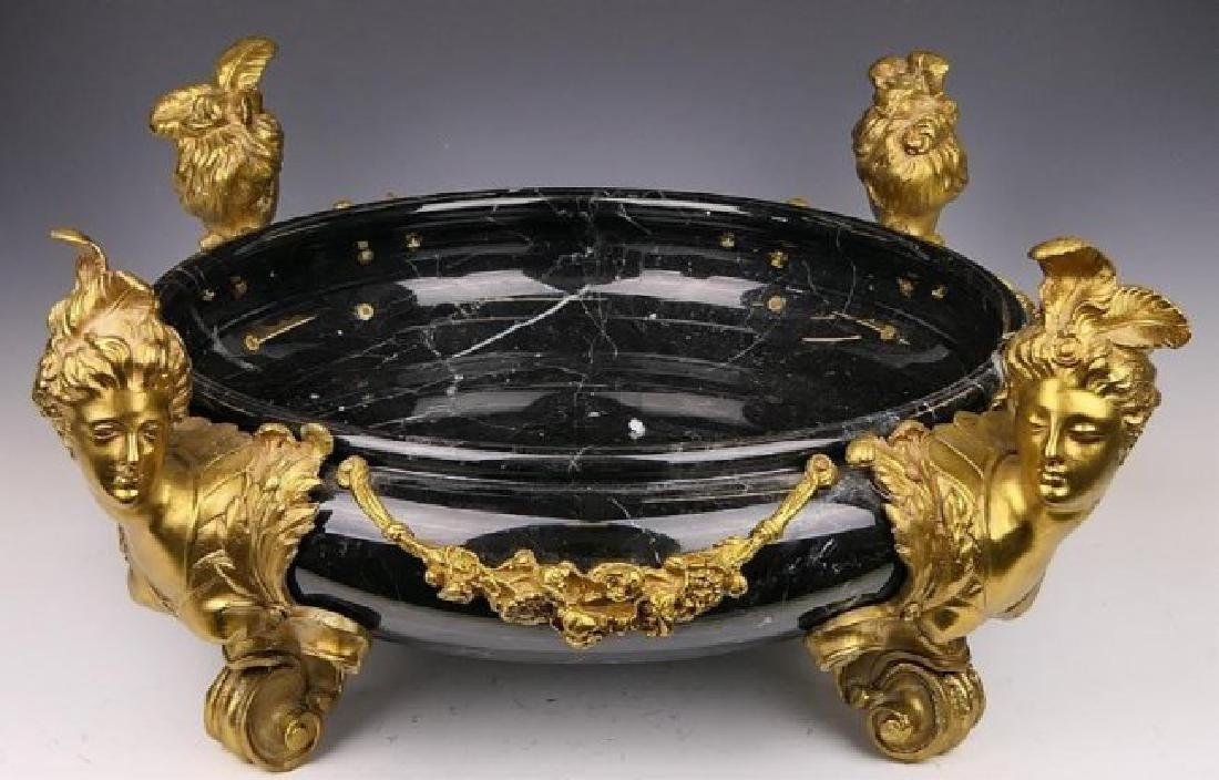 LARGE 19TH C. DORE BRONZE AND MARBLE CENTERPIECE