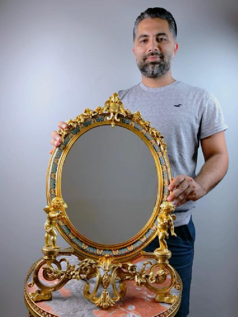A PALATIAL FRENCH CHAMPLEVE ENAMEL MIRROR - 3