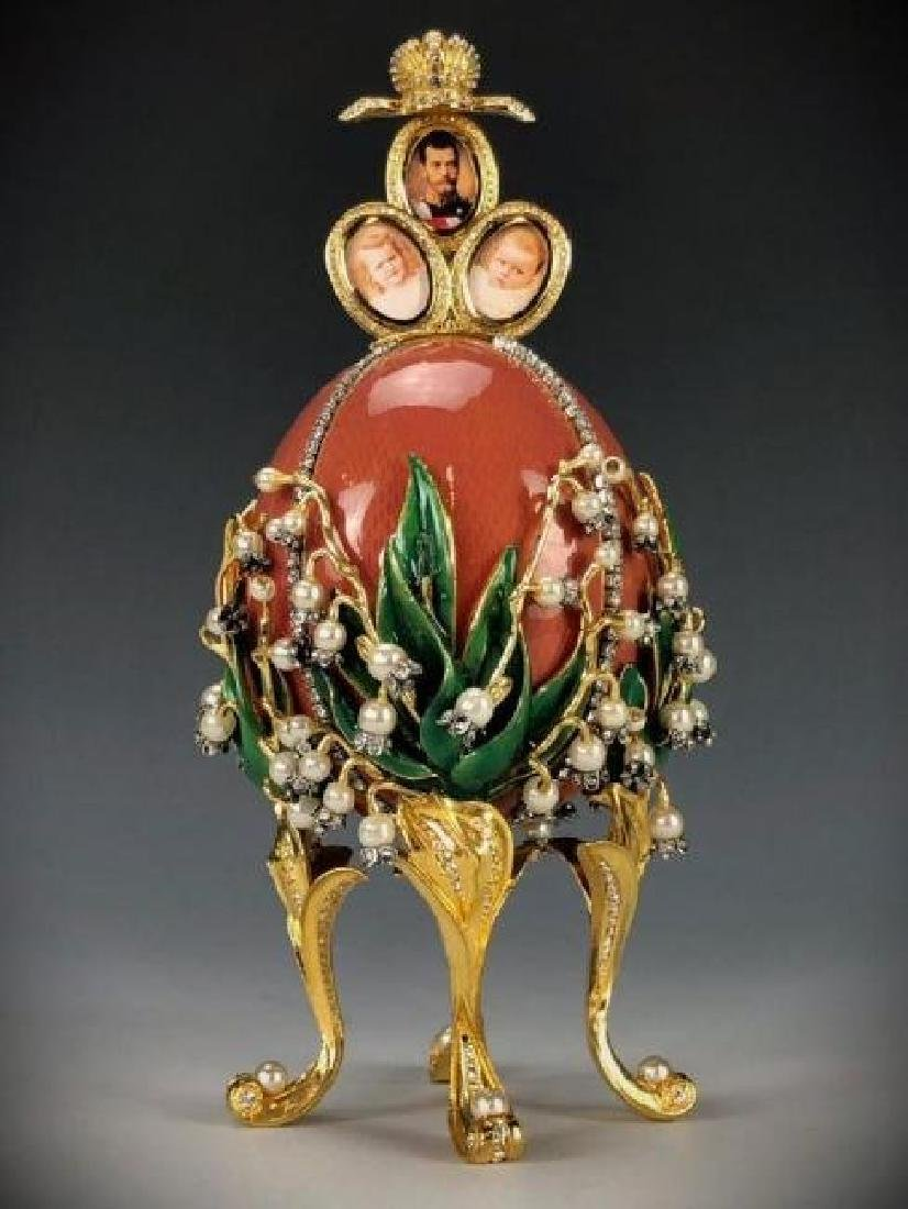 LILLIES OF THE VALLEY SIGNED FABERGE EGG