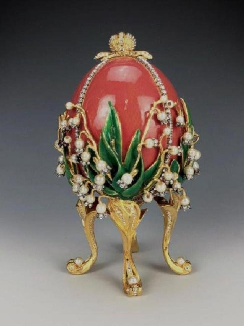 LILLIES OF THE VALLEY SIGNED FABERGE EGG - 3