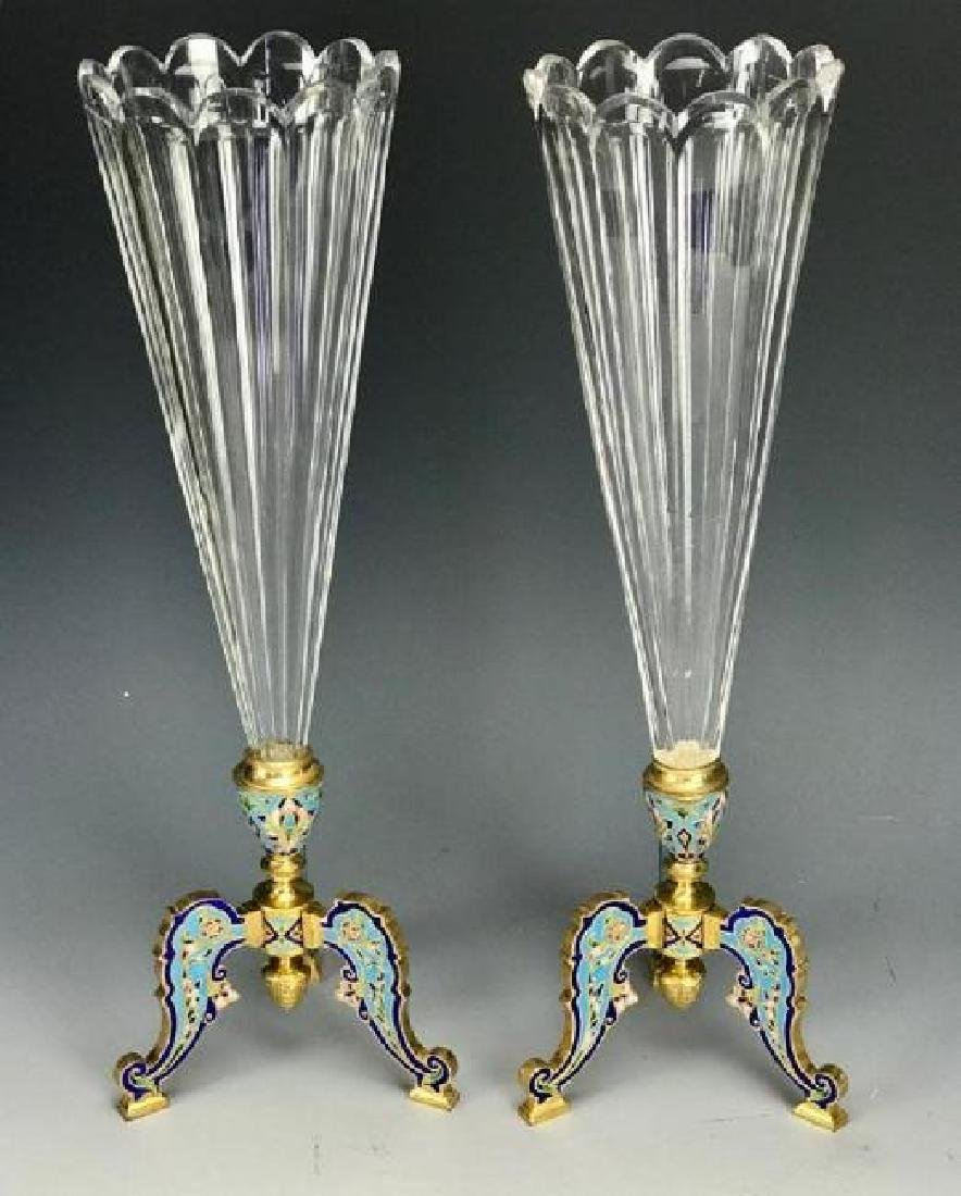 PAIR OF 19TH C. CHAMPLEVE ENAMEL & BACCARAT VASES