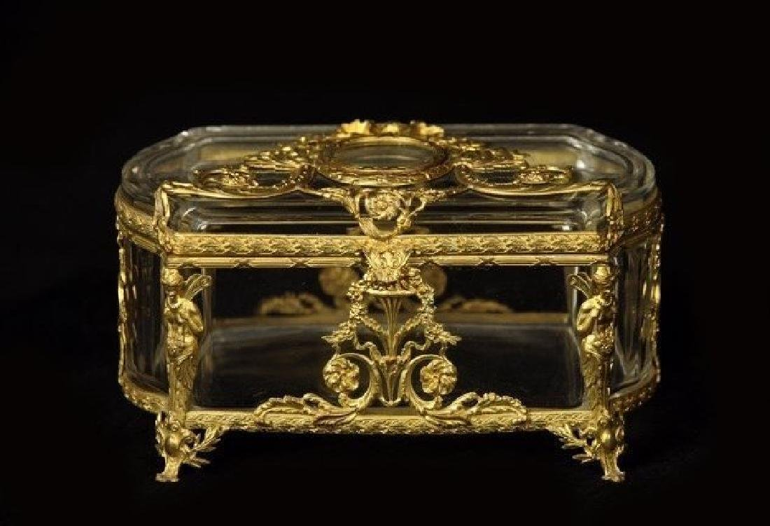 AN EMPIRE STYLE DORE BRONZE MOUNT BACCARAT GLASS BOX