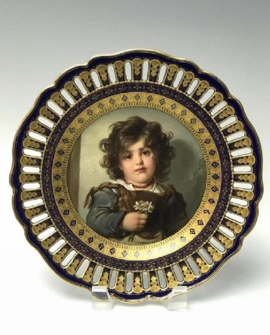 19TH C. RETICULATED MEISSEN PORTRAIT PLATE