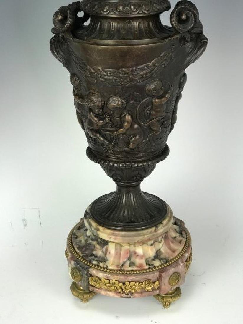 A LARGE PAIR OF 19TH C. BRONZE AND MARBLE CANDELABRA - 3
