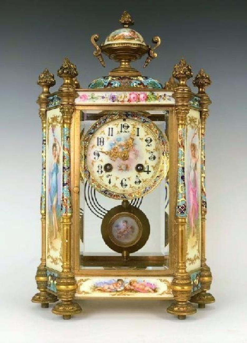 19TH C. CHAMPLEVE ENAMEL & SEVRES PORCELAIN CLOCK