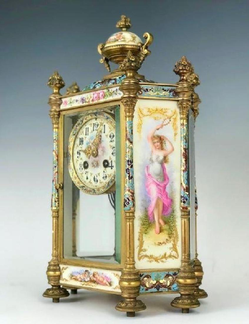 19TH C. CHAMPLEVE ENAMEL & SEVRES PORCELAIN CLOCK - 2