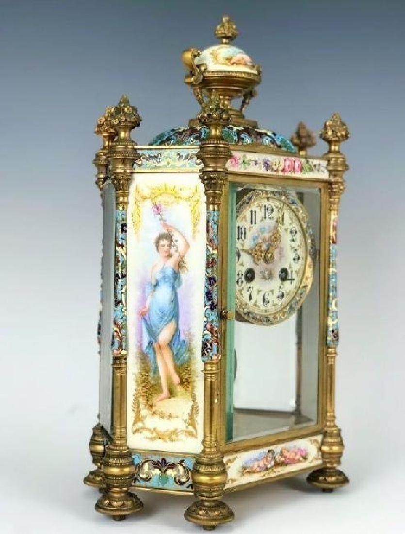 19TH C. CHAMPLEVE ENAMEL & SEVRES PORCELAIN CLOCK - 3