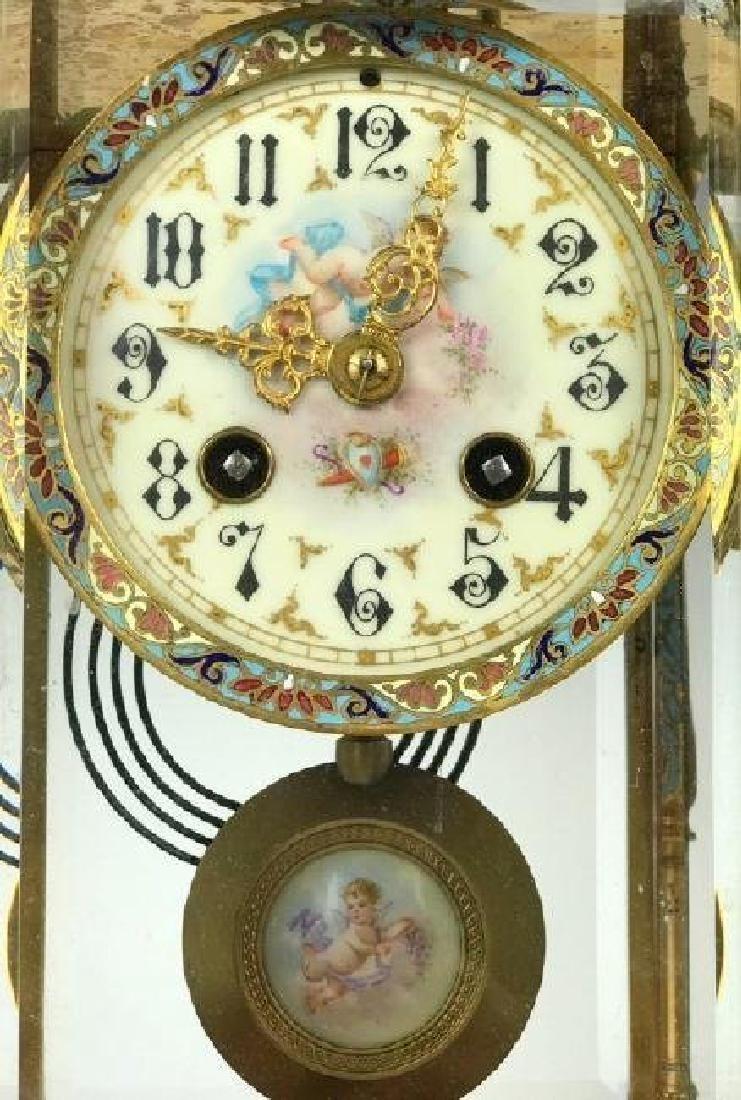 19TH C. CHAMPLEVE ENAMEL & SEVRES PORCELAIN CLOCK - 4
