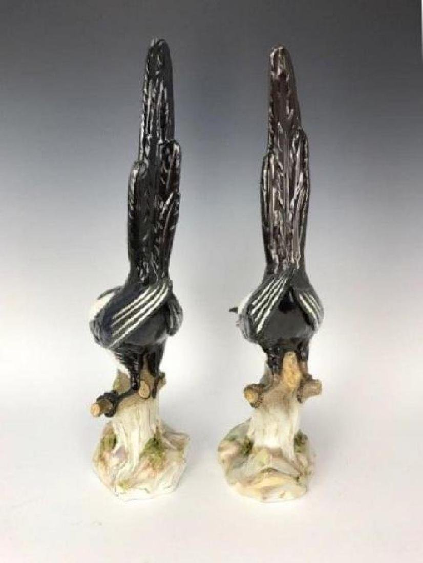 """LARGE PAIR OF 19TH C. MEISSEN MAGPIES 21"""" H - 6"""
