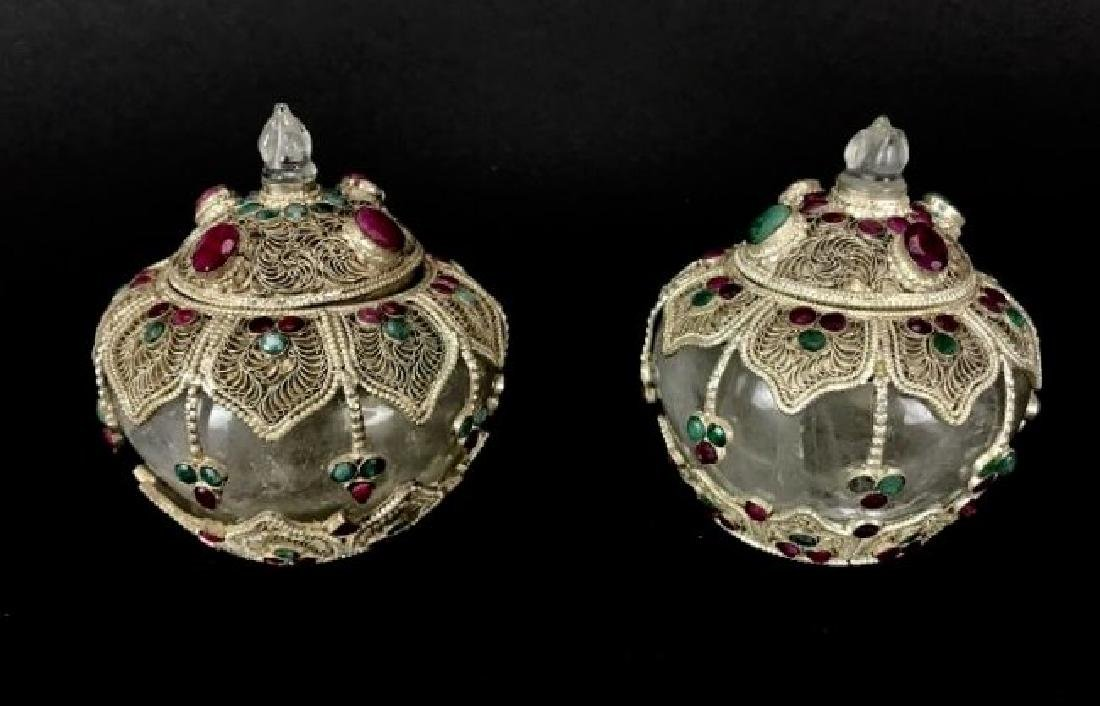 2 CHINESE JEWELLED SILVER AND ROCK CRYSTAL JARS & COVER
