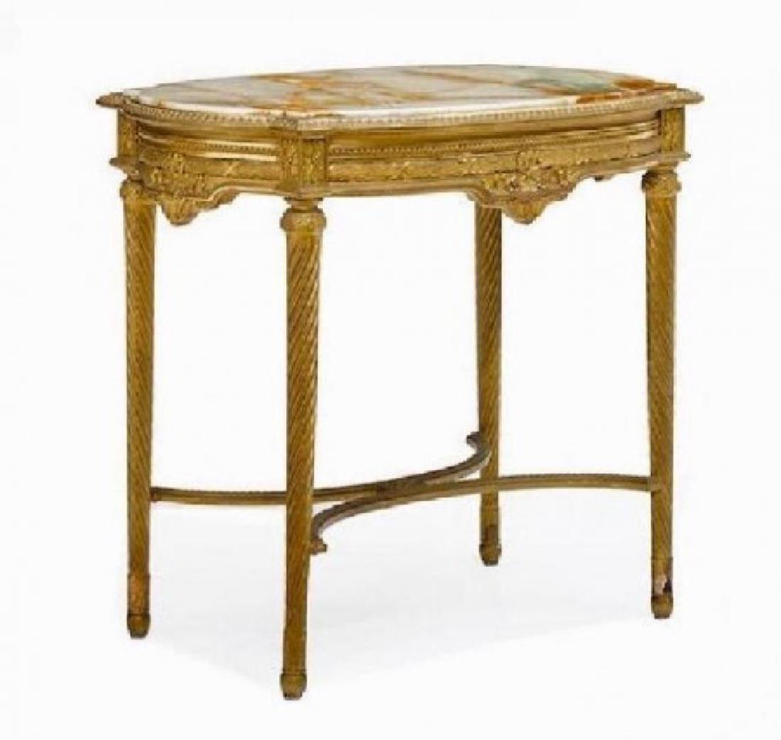 A LOUIS XVI STYLE GILTWOOD AND ONYX TABLE DE MILIEU
