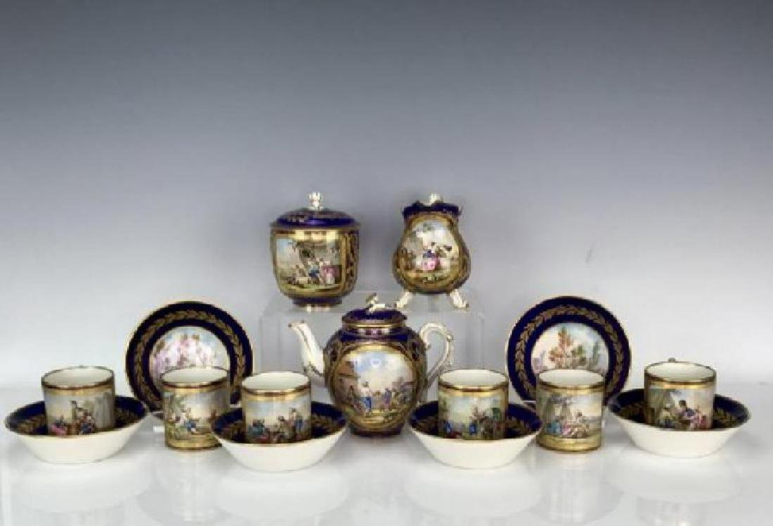 A GOOD 19TH C. SEVRES PORCELAIN TEA SET SIGNED MORION