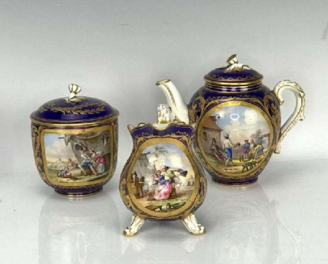 A GOOD 19TH C. SEVRES PORCELAIN TEA SET SIGNED MORION - 2