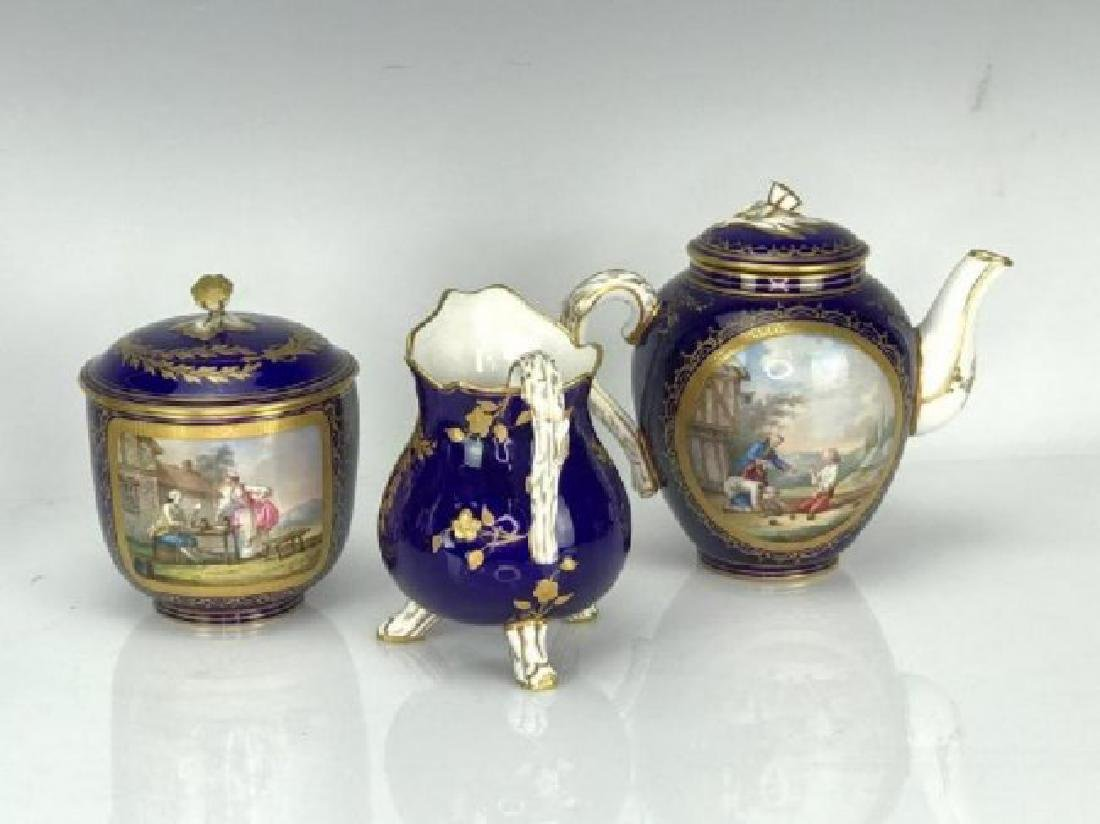 A GOOD 19TH C. SEVRES PORCELAIN TEA SET SIGNED MORION - 3