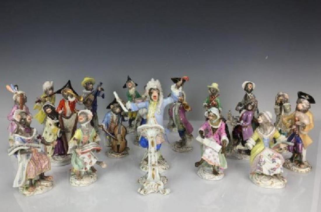 COMPLETE ANTIQUE MEISSEN MONKEY BAND 21 PEICES