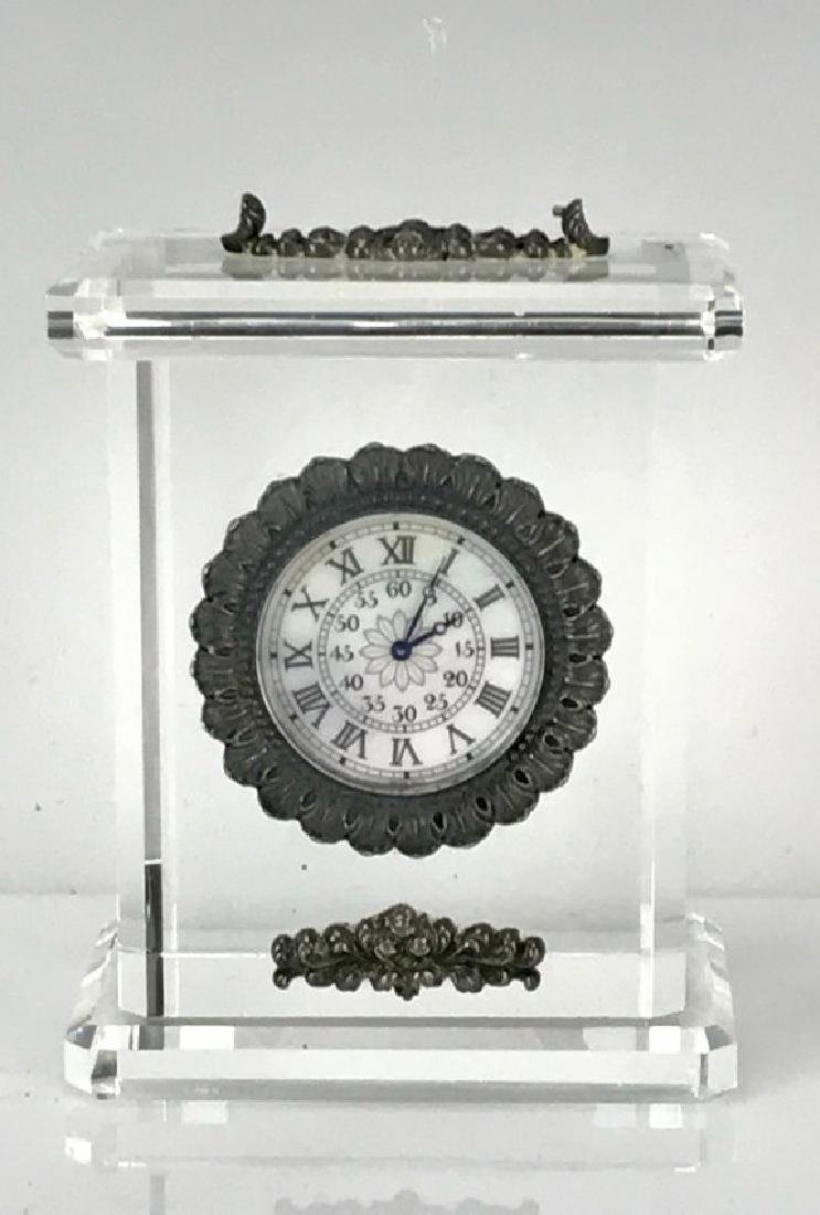 BUCCELLATI ROCK CRYSTAL AND STERLING SILVER CLOCK
