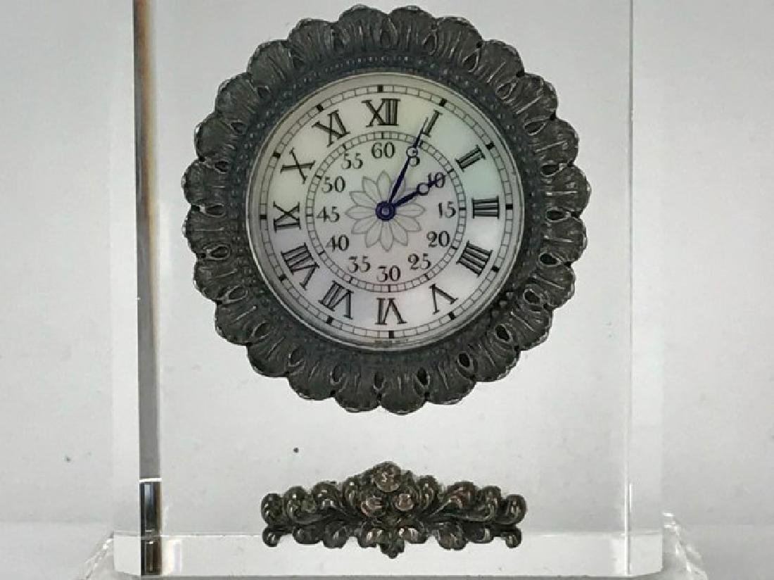 BUCCELLATI ROCK CRYSTAL AND STERLING SILVER CLOCK - 2