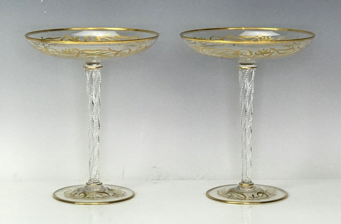 A PAIR OF GILT MOSER GLASS TAZAS