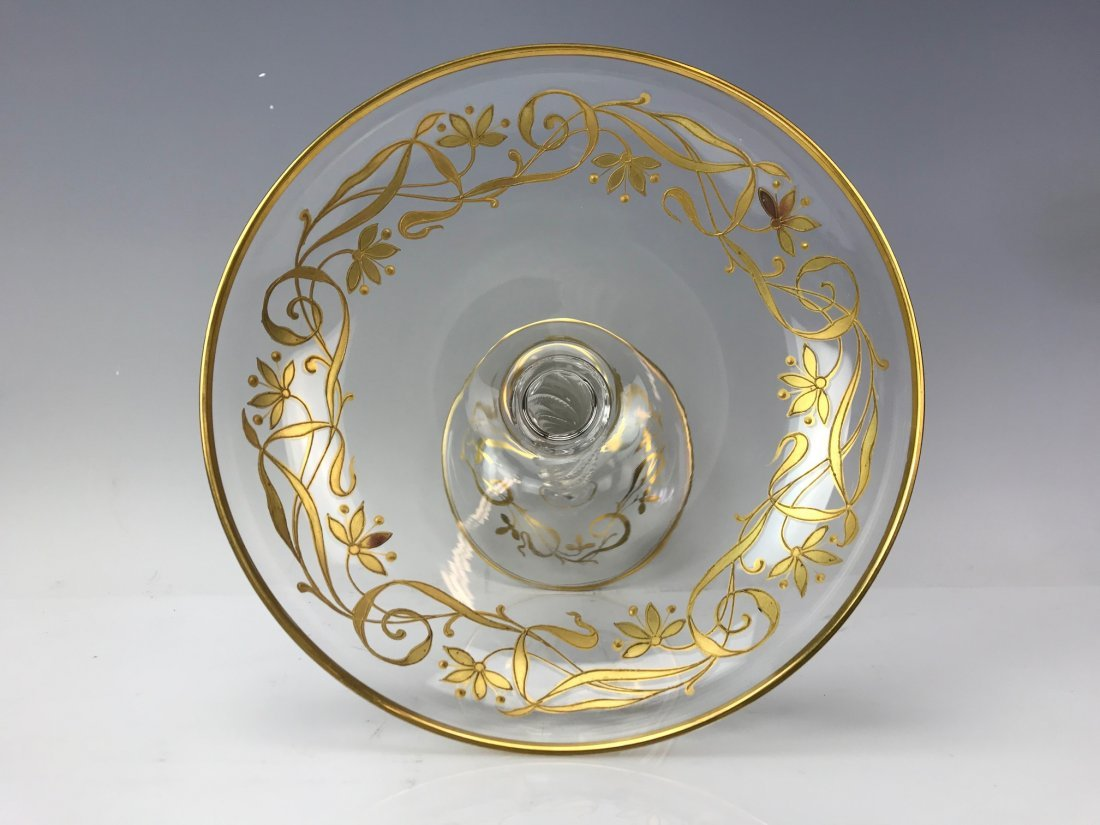 A PAIR OF GILT MOSER GLASS TAZAS - 2