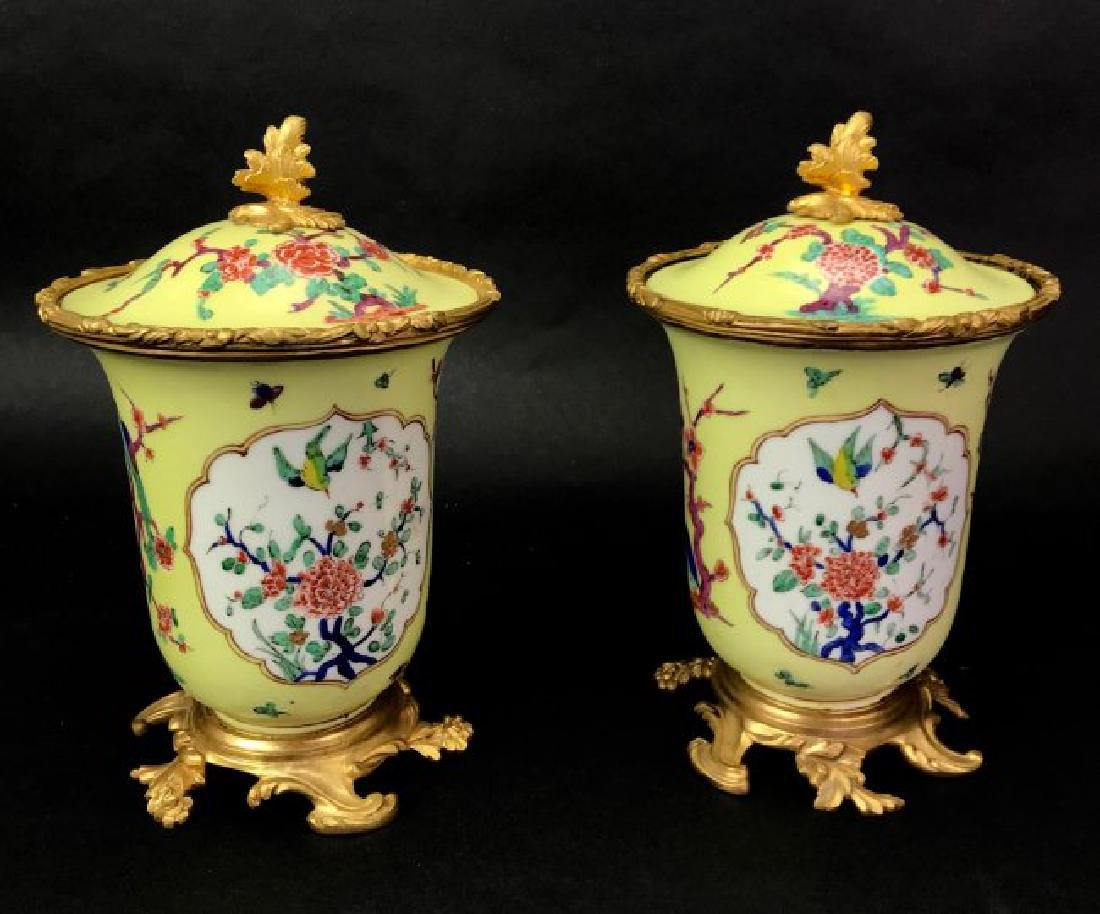 A PAIR OF CONTINENTAL ORMOLU MOUNTED POTPOURRIS