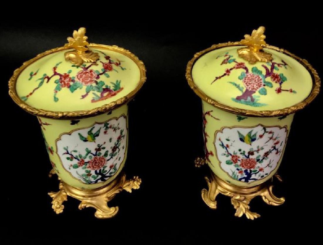 A PAIR OF CONTINENTAL ORMOLU MOUNTED POTPOURRIS - 2
