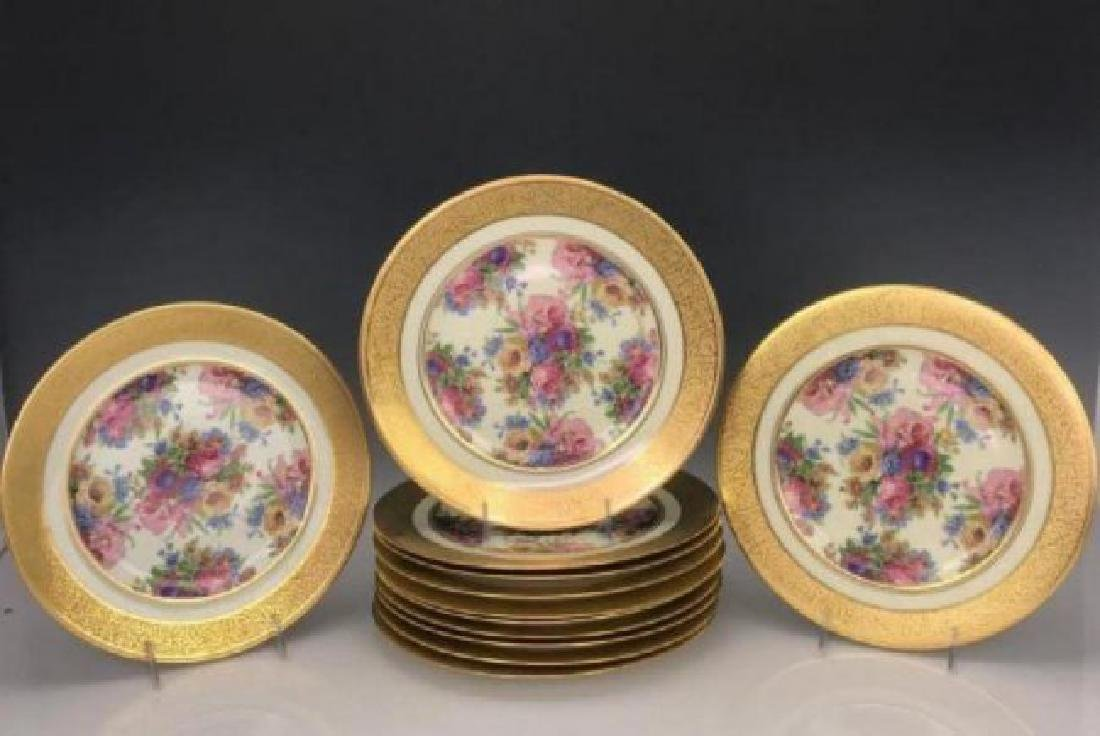 SET OF 12 GILT HEUTCHENREUTER PORCELAIN DINNER PLATES