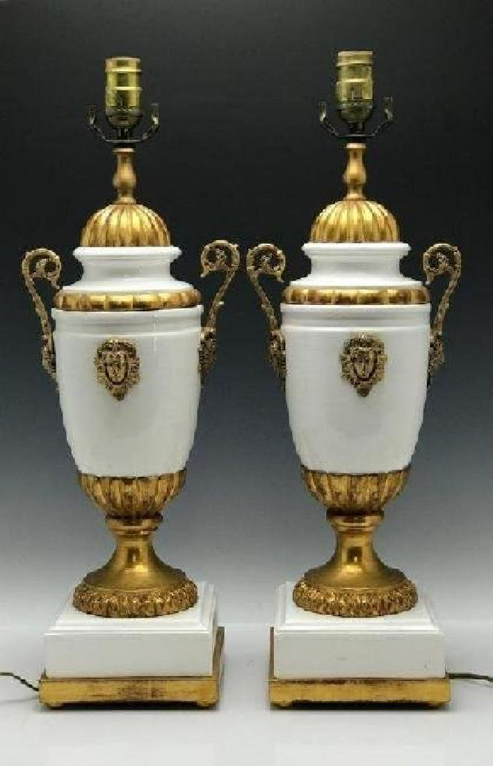 A PAIR OF ORMOLU MOUNTED LAMPS