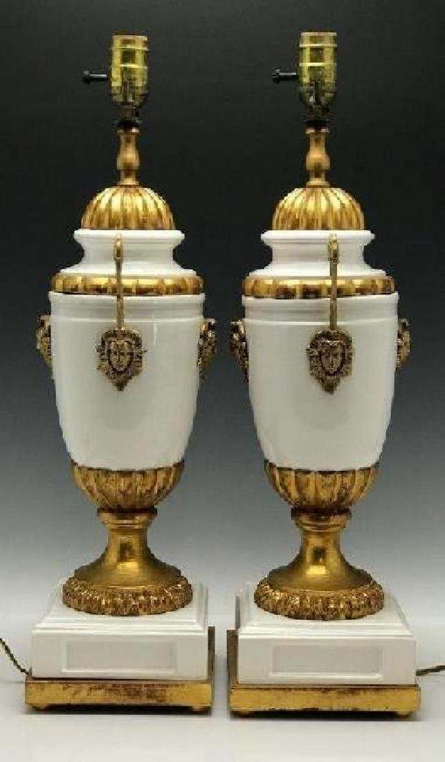 A PAIR OF ORMOLU MOUNTED LAMPS - 2