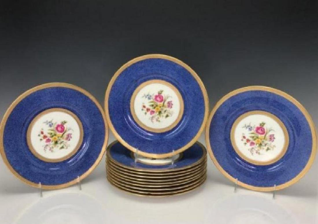 SET OF 12 GILT CAULDON PORCELAIN DINNER PLATES