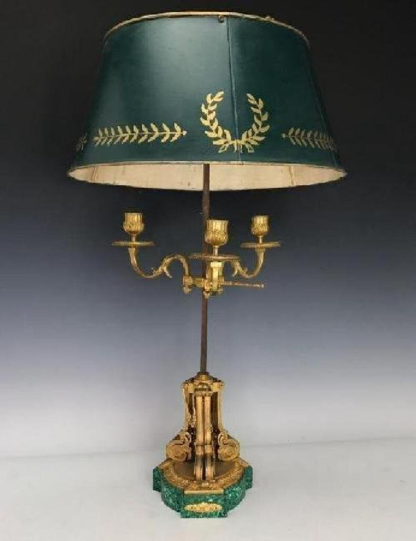 19TH C. ORMOLU MOUNTED MALACHITE LAMP